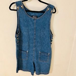 VTG 90s Denim Jumper Romper Size Small